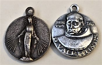 "St. Valentine & Immaculate Mary Medal 5/8"" - Patron of Motherhood and Fertility - ​Catholic religious medals in authentic antique and vintage styles with amazing detail. Large collection of heirloom pieces made by hand in California, US."
