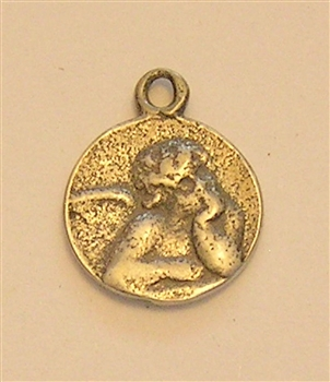 "Medallion Charm, Mini Small Victorian Angel Medal 1/2"" - Charms and pendants in authentic antique and vintage styles with amazing detail. Large collection of heirloom pieces made by hand in California, US. Available in sterling silver or true bronze."