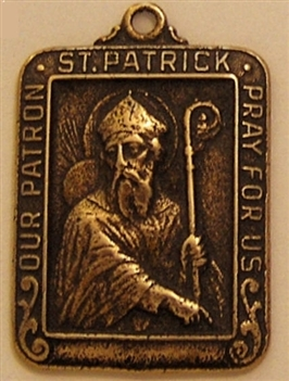 "St Patrick Medal 1 1/4"" - Catholic religious medals in authentic antique and vintage styles with amazing detail. Large collection of heirloom pieces made by hand in California, US. Available in true bronze and sterling silver."