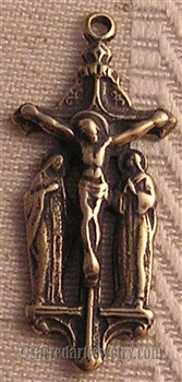 Mary John Crucifix Medal 1 1/4""