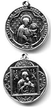 "Saint Alphonse Medal 1 1/8"" - Catholic religious medals in authentic antique and vintage styles with amazing detail. Large collection of heirloom pieces made by hand in California, US. Available in true bronze and sterling silver."