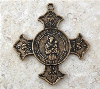 "St Anthony Cross Armenian Medal 2 1/4"" - Catholic religious medals in authentic antique and vintage styles with amazing detail. Large collection of heirloom pieces made by hand in California, US. Available in sterling silver and true bronze"