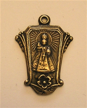 "Infant of Prague Medal 1"" - Catholic religious medals in authentic antique and vintage styles with amazing detail. Large collection of heirloom pieces made by hand in California, US. Available in true bronze and sterling silver."