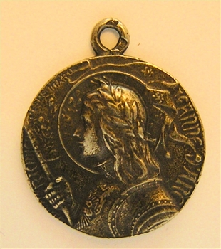"Joan of Arc Medal 1"" - Catholic religious medals in authentic antique and vintage styles with amazing detail. Large collection of heirloom pieces made by hand in California, US. Available in sterling silver and true bronze"