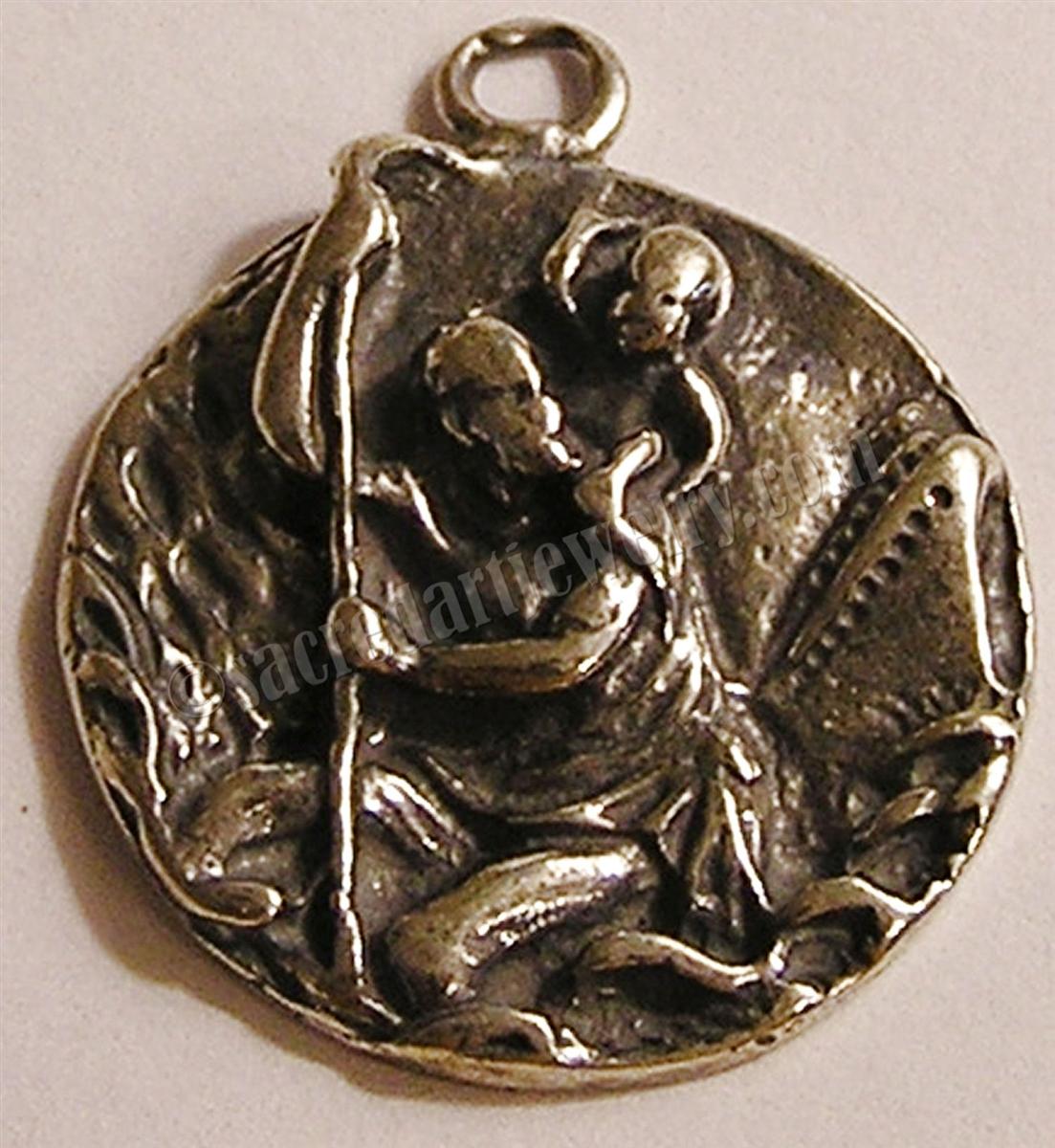 St Christopher Antique Religious Pendant.