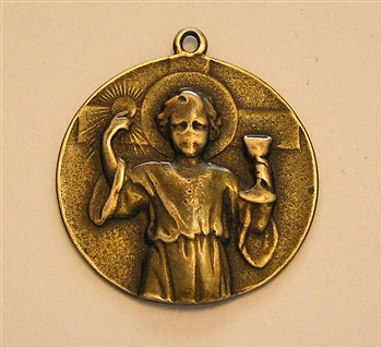 First Communion Medal, Young Jesus with Eucharist Medal - Catholic religious medals in authentic antique and vintage styles with amazing detail. Large collection of heirloom pieces made by hand in California, US.