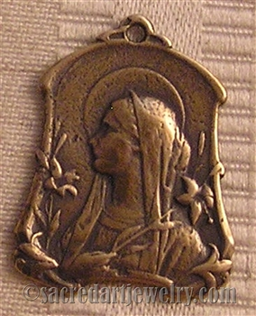 "Virgin Mary Medal Art Nouveau 1 1/4"" - Catholic religious medals in authentic antique and vintage styles with amazing detail. Large collection of heirloom pieces made by hand in California, US. Available in true bronze and sterling silver."