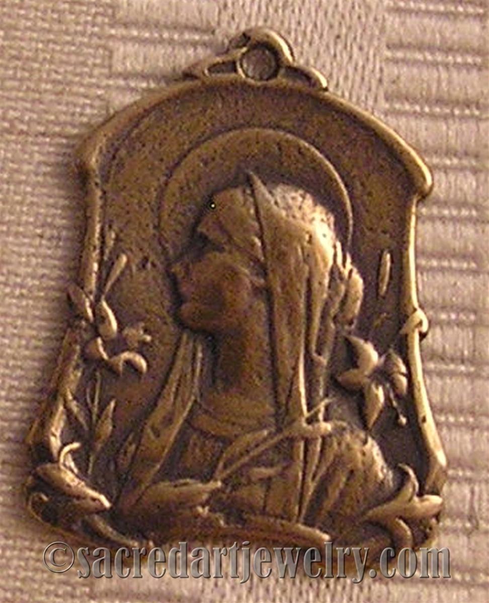 Virgin Mary Medal Art Nouveau 1 1/4
