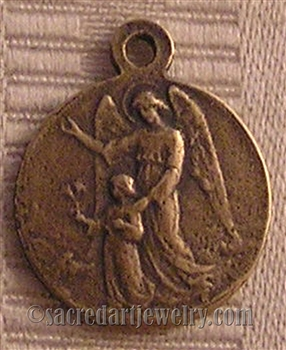 "Guardian Angel Medal 7/8"" - Catholic religious medals in authentic antique and vintage styles with amazing detail. Large collection of heirloom pieces made by hand in California, US. Available in sterling silver and true bronze"