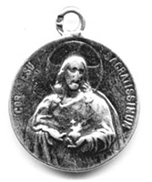 "Sacred Heart Medal 1"" - Catholic religious medals in authentic antique and vintage styles with amazing detail. Large collection of heirloom pieces made by hand in California, US. Available in sterling silver and true bronze"