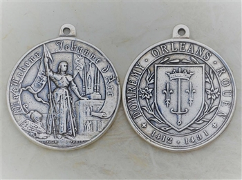 "Joan of Arc Medal Large 1 1/2"" - Catholic religious medals in authentic antique and vintage styles with amazing detail. Large collection of heirloom pieces made by hand in California, US. Available in true bronze and sterling silver."
