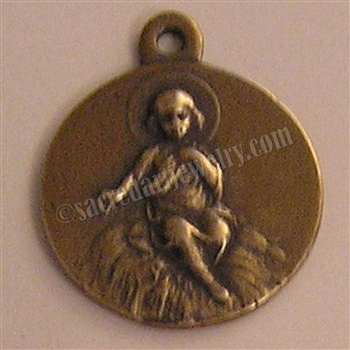 "Crib Medal Jesus Nativity 1"" - Catholic religious medals in authentic antique and vintage styles with amazing detail. Large collection of heirloom pieces made by hand in California, US. Available in sterling silver and true bronze"