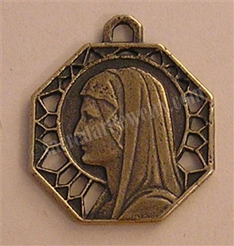 "Mary Profile Medal 1"" - Catholic religious medals in authentic antique and vintage styles with amazing detail. Large collection of heirloom pieces made by hand in California, US. Available in sterling silver and true bronze"