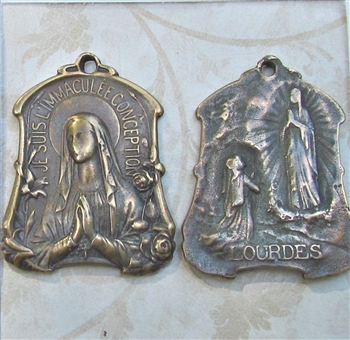 "Our Lady of Lourdes Medal 1 3/8"" - Catholic religious medals in authentic antique and vintage styles with amazing detail. Large collection of heirloom pieces made by hand in California, US. Available in sterling silver and true bronze"