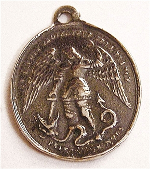 "Saint Michael Medal 1"" - Catholic religious medals in authentic antique and vintage styles with amazing detail. Large collection of heirloom pieces made by hand in California, US. Available in sterling silver and true bronze"