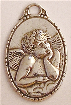 "Rubens Angel Medal 1"" - Catholic religious medals in authentic antique and vintage styles with amazing detail. Large collection of heirloom pieces made by hand in California, US. Available in sterling silver and true bronze"