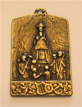 "Virgin Mary Medal 1 1/2"" - Catholic religious medals in authentic antique and vintage styles with amazing detail. Large collection of heirloom pieces made by hand in California, US. Available in true bronze and sterling silver."