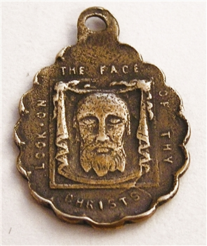 "Veiled Face of Jesus Medal 3/4"" - Catholic religious medals in authentic antique and vintage styles with amazing detail. Large collection of heirloom pieces made by hand in California, US. Available in sterling silver and true bronze"