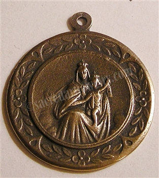 "Blessed Mother Medal 1"" - Catholic religious medals in authentic antique and vintage styles with amazing detail. Large collection of heirloom pieces made by hand in California, US. Available in sterling silver and true bronze"