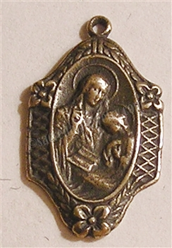 "St Anne with Mary Medal 7/8"" - Catholic religious medals in authentic antique and vintage styles with amazing detail. Large collection of heirloom pieces made by hand in California, US. Available in sterling silver and true bronze"