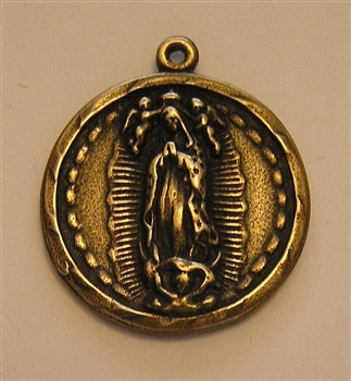 "Guadalupe Medal 1 1/8"" - Catholic Our Lady of Guadalupe medals in authentic antique and vintage styles with amazing detail. Large collection of heirloom pieces made by hand in California, US. Available in true bronze and sterling silver."