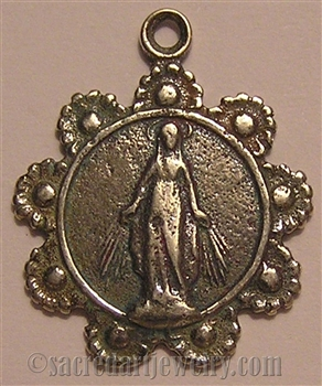 "Miraculous Mary Medal 7/8"" with Daisy Wreath - Catholic religious medals in authentic antique and vintage styles with amazing detail. Large collection of heirloom pieces made by hand in California, US. Available in true bronze"