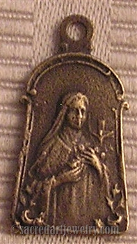 "Saint Theresa of Jesus Medal 7/8"" - Catholic religious medals in authentic antique and vintage styles with amazing detail. Large collection of heirloom pieces made by hand in California, US. Available in sterling silver and true bronze"