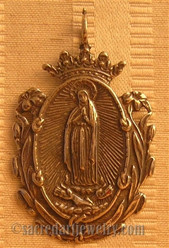 "Our Lady of Guadalupe Medal 2 1/4"" - Catholic religious medals in authentic antique and vintage styles with amazing detail. Large collection of heirloom pieces made by hand in California, US. Available in true bronze and sterling silver."