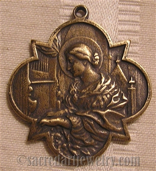 "Saint Cecilia Medal 1 1/2"" - Catholic religious medals in authentic antique and vintage styles with amazing detail. Large collection of heirloom pieces made by hand in California, US. Available in sterling silver and true bronze"