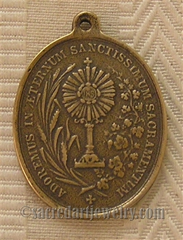 "Twin Hearts Monstrance Medal 1 3/8"" - Catholic religious medals in authentic antique and vintage styles with amazing detail. Large collection of heirloom pieces made by hand in California, US. Available in sterling silver and true bronze"