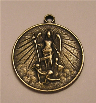 "Saint Michael Radiant Medal 1"" St Michael Medallion, radiant, surrounded by angels - Catholic religious medals in authentic antique and vintage styles with amazing detail. Large collection of heirloom pieces made by hand in California, US."