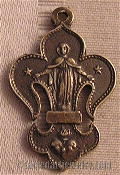 Fleur de Lis with Crucifix and Virgin Mary Medal 1 1/4""