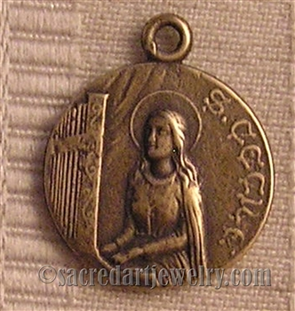 "Saint Cecile Medal 7/8"" - Catholic religious medals in authentic antique and vintage styles with amazing detail. Large collection of heirloom pieces made by hand in California, US. Available in true bronze and sterling silver."