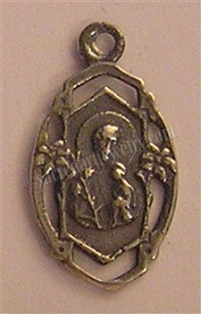 "St Joseph Medal, Small 3/4"" - Religious medallions and Catholic medals in authentic antique and vintage styles with amazing detail. Large collection of saint medals and heirloom pieces made by hand in California, US. Available in true bronze and sterling."