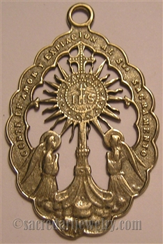 "Monstrance Medallion 2 3/8"" - Catholic religious Corte de Amor medals in authentic antique and vintage styles with amazing detail. Large collection of heirloom pieces made by hand in California, US. Available in true bronze and sterling silver."