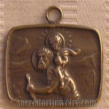 "Saint Christopher Medal 1"" - Catholic religious medals in authentic antique and vintage styles with amazing detail. Large collection of heirloom pieces made by hand in California, US. Available in true bronze and sterling silver."