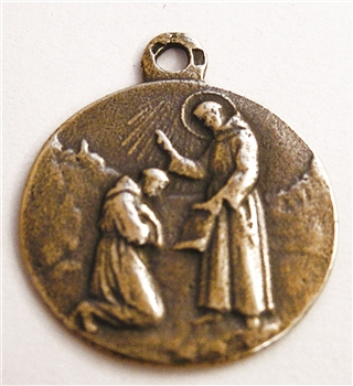 "St Francis Blessing Medal 1"" - Catholic religious medals in authentic antique and vintage styles with amazing detail. Large collection of heirloom pieces made by hand in California, US. Available in true bronze and sterling silver."