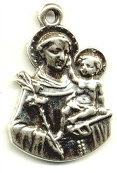 "Saint Anthony Medal 1 1/8"" - Catholic religious medals in authentic antique and vintage styles with amazing detail. Large collection of heirloom pieces made by hand in California, US. Available in true bronze and sterling silver."