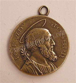 "St Joseph Medallion 1 1/4"" - Catholic religious medals in authentic antique and vintage styles with amazing detail. Large collection of heirloom pieces made by hand in California, US. Available in true bronze and sterling silver."