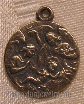 "Crib Medal with Angels 3/4"" - Catholic religious medals in authentic antique and vintage styles with amazing detail. Large collection of heirloom pieces made by hand in California, US. Available in true bronze and sterling silver."