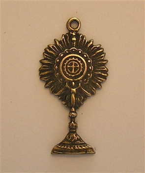 "Monstrance Medal 1"" - Catholic religious medals in authentic antique and vintage styles with amazing detail. Large collection of heirloom pieces made by hand in California, US. Available in true bronze and sterling silver."