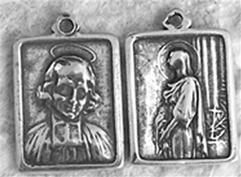 "St Philomena & St Vianney Medal 5/8"" - Catholic saint medals in authentic antique and vintage styles with amazing detail. Large collection of heirloom pieces made by hand in California, US. Available in true bronze and sterling silver."