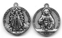 "Sacred Heart Medal 1"" - Catholic scapulars and religious medals in authentic antique and vintage styles with amazing detail. Large collection of heirloom pieces made by hand in California, US. Available in true bronze and sterling silver."