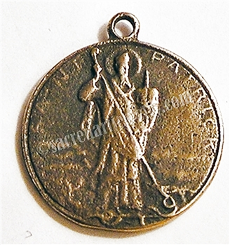 "Saint Patrick Medal 7/8"" - Catholic saint medals in authentic antique and vintage styles with amazing detail. Large collection of heirloom pieces made by hand in California, US. Available in true bronze and sterling silver."