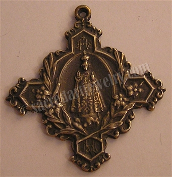 "Infant of Prague Medallion 2"" - Catholic religious medals in authentic antique and vintage styles with amazing detail. Large collection of heirloom pieces made by hand in California, US. Available in true bronze and sterling silver."
