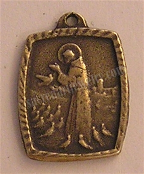 Saint Francis Medal with Prayer - St Francis medallions and other Catholic saint medals in authentic antique and vintage styles with amazing detail. Large collection of heirloom pieces made by hand in California, US.