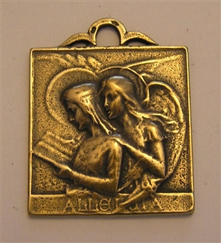 "Archangel St Gabriel Medal 1 1/4"" - Catholic angel medals in authentic antique and vintage styles with amazing detail. Large collection of heirloom pieces made by hand in California, US. Available in true bronze and sterling silver."