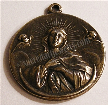 "Mary Queen of Angels Medal 1 1/2"" - Catholic religious medals in authentic antique and vintage styles with amazing detail. Large collection of heirloom pieces made by hand in California, US. Available in true bronze and sterling silver."