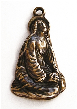 "Mary Magdalene Medal 1 5/8"" - Catholic religious medals in authentic antique and vintage styles with amazing detail. Large collection of heirloom pieces made by hand in California, US. Available in true bronze and sterling silver."