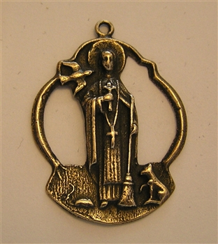 "St Martin de Porres Medal 1 1/2"" - Catholic religious medals in authentic antique and vintage styles with amazing detail. Large collection of heirloom pieces made by hand in California, US. Available in true bronze and sterling silver."
